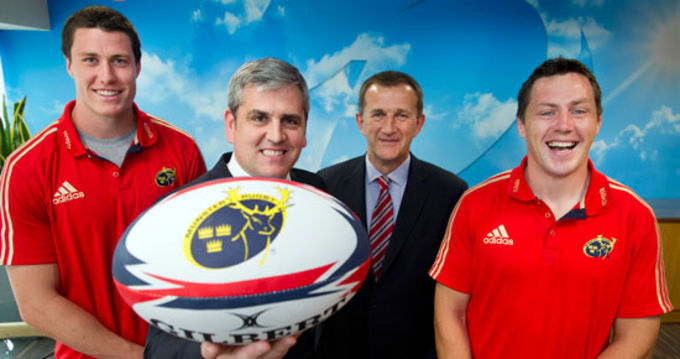 Anthony O'Mara Senior VP Trend Micro (EMEA) pictured with Munster Rugby CEO Garret Fitzgerald and players Ian Nagle and James Coughlan