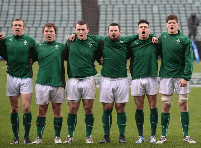 Captain Jack O'Donoghue (right) and Irish U20s line up for anthems during this year's JWC.