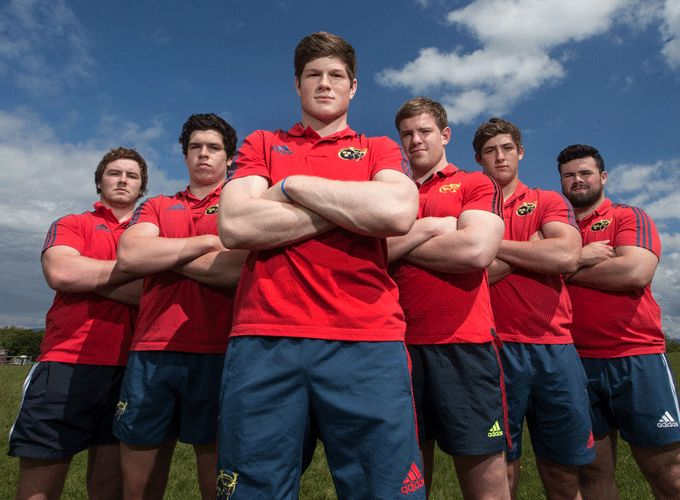 Six of Munster's U20 JWC representatives - Max Abbott, Alex Wootton, Jack O'Donoghue, Diarmaid Dee, Dan Goggin and Rory Burke