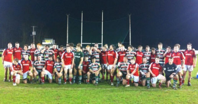 Munster U20s Development squad pictured with the Leicester Academy