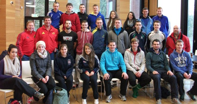 UCC PE students pictures with Munster Rugby Coach Development Officers Keith Murphy and Ken O'Connell
