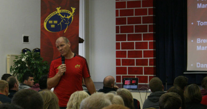 Ultan O'Callaghan presenting at the Munster Rugby Talent Camp Induction Day at Rockwell College
