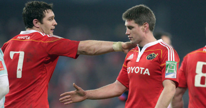 Clap on the back for Ronan O'Gara from David Wallace