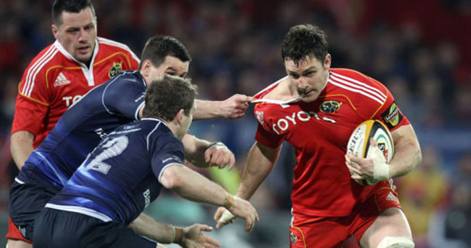 David Wallace in action against Leinster