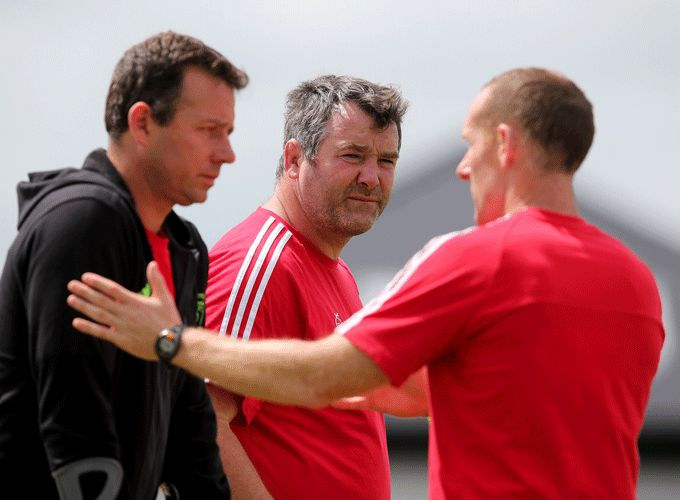 Assistant coaches Brian Walsh and Ian Costello alongside Head Coach Anthony Foley.