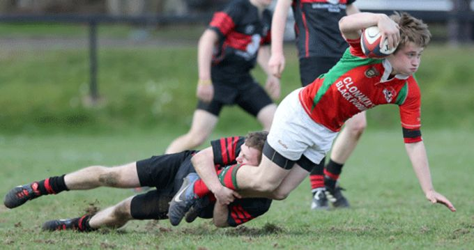Waterpark U17's Rory Corbett tackles Bobby Smith, Clonakilty, in the recent Munster U17 League Final.