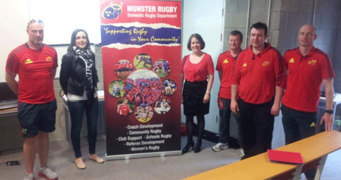 Shane O' Rourke, Munster Rugby; Kristine Sheehan, Tralee IT; Anne Looney, Tralee IT; Sean Brosnan (S&C), John McCarthy (Assistant Coach/Forwards Coach); Denis Corridan (S&C).