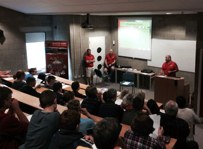Munster Rugby's Ray Gadsden tutors at the Player/Parent Information Seminar at Tralee IT