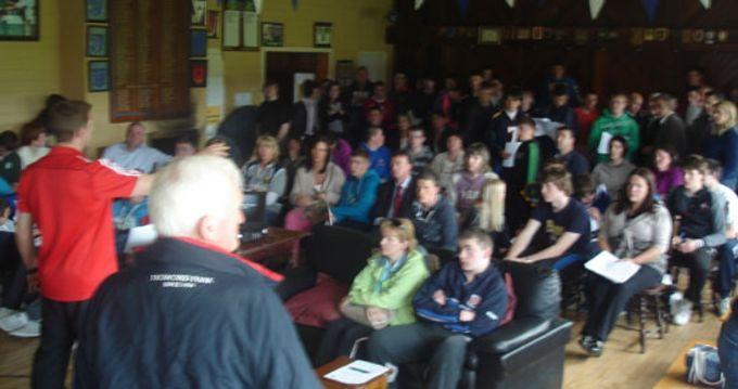 Munster Rugby's Colm McMahon presenting to players and parents at Tralee RFC