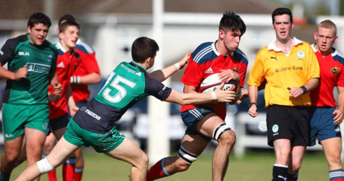 Robert Walsh from Waterpark RFC in action for Munster U18 Clubs