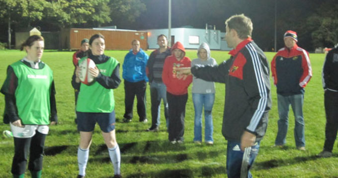 Colm McMahon, Coach Development Officer, tutors on the Women's Coaching Workshop at Shannon RFC