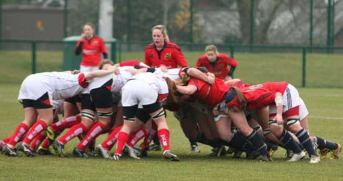 Scrum time for Ulster and Munster Women at Queens University in Belfast