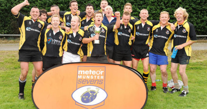 Youghal RFC celebrate winning the Junior Cup competition at the 2009 Meteor Munster Rugby Sevens in Highfield RFC