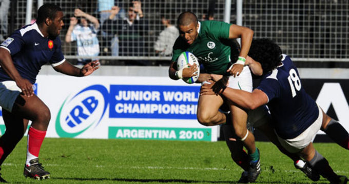 Ireland U-20 Winger Simon Zebo in Action