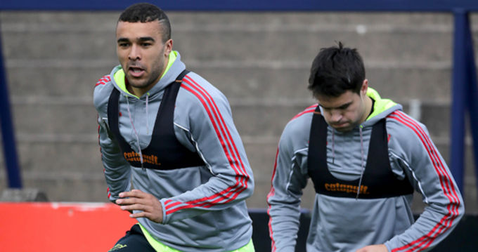 Simon Zebo and Conor Murray at Munster training