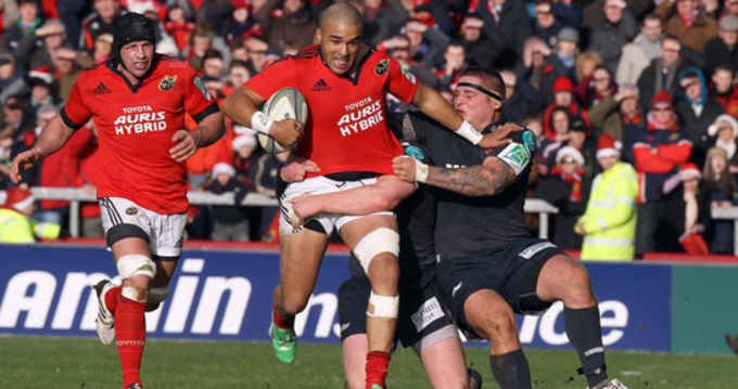 Simon Zebo denied a try in the opening 39th minute