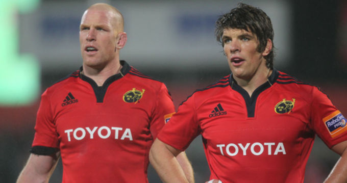 Paul O'Connell pictured alongside Donncha O'Callaghan in the game against Aironi
