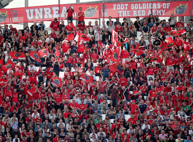 The Red Army in full voice and colour at the Stade Velodrome for this year's Heineken Cup semi-final