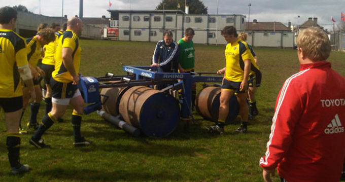 Paul McCarthy supervises a scrum session in Musgrave Park today