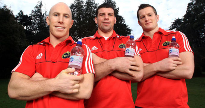 Peter Stringer, Denis Leamy & Denis Hurley at the launch of Ballygowans 'Think Pink Week' to raise awareness of Breast Cancer.