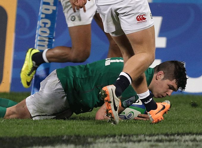Munster's Alex Wootton crosses for Ireland's second try of the game